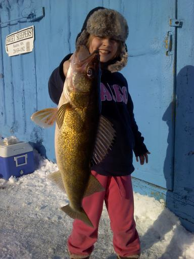 10yr old Camryn with a Sweet's Fishing Walleye